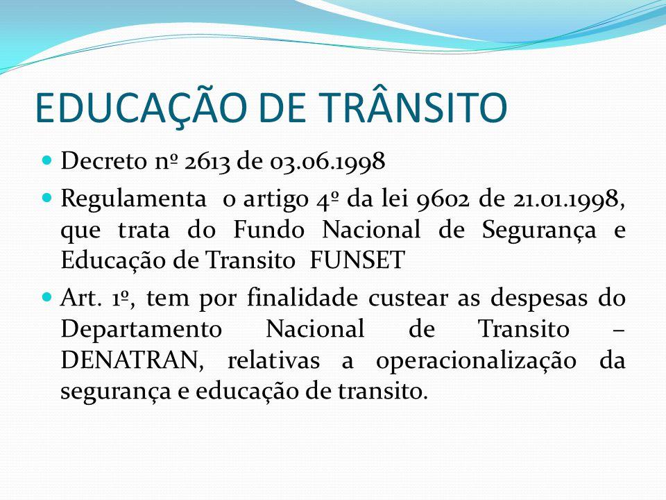 EDUCAÇÃO DE TRÂNSITO Decreto nº 2613 de 03.06.1998