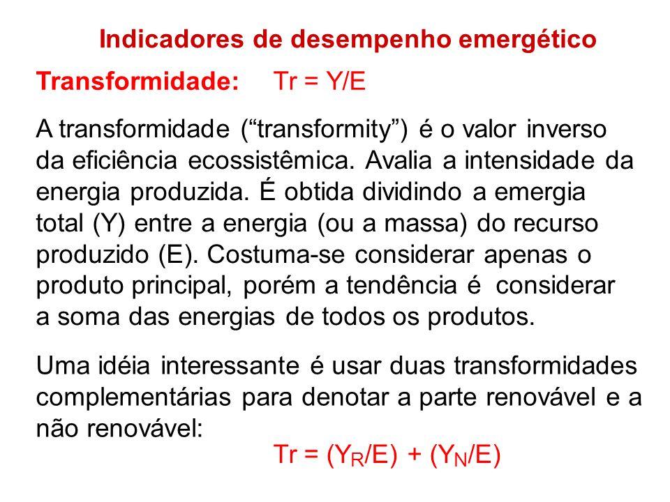 Indicadores de desempenho emergético