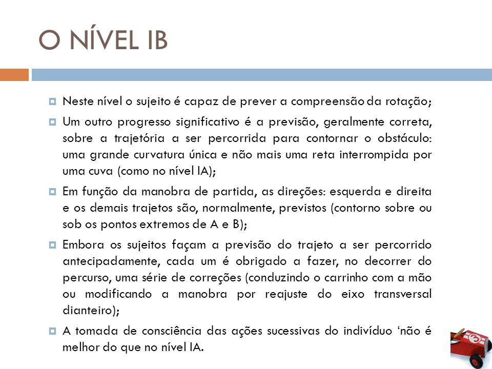 O NÍVEL IB Neste nível o sujeito é capaz de prever a compreensão da rotação;