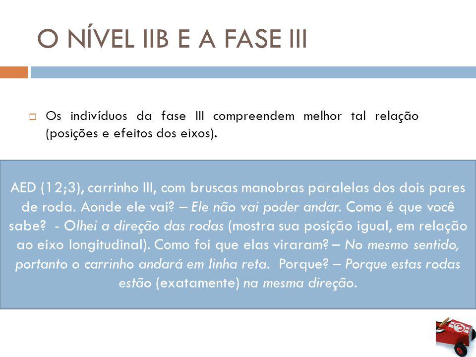O NÍVEL IIB E A FASE III Os indivíduos da fase III compreendem melhor tal relação (posições e efeitos dos eixos).