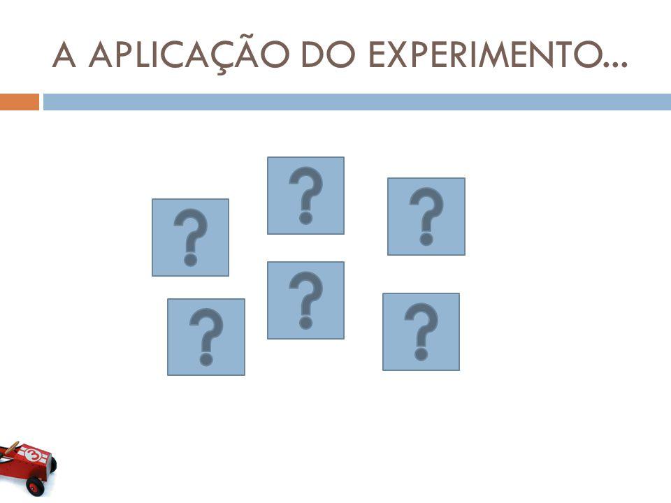 A APLICAÇÃO DO EXPERIMENTO...