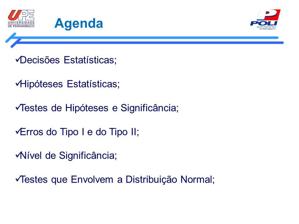 Agenda Decisões Estatísticas; Hipóteses Estatísticas;