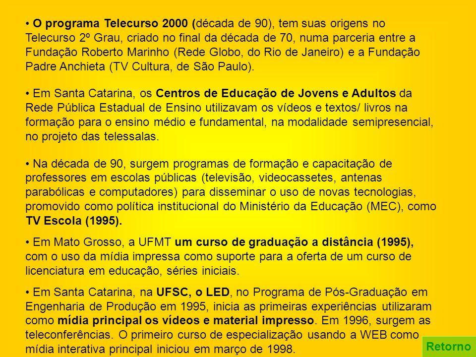 • O programa Telecurso 2000 (década de 90), tem suas origens no Telecurso 2º Grau, criado no final da década de 70, numa parceria entre a Fundação Roberto Marinho (Rede Globo, do Rio de Janeiro) e a Fundação Padre Anchieta (TV Cultura, de São Paulo).