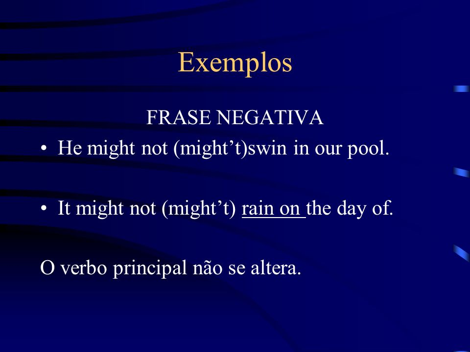 Exemplos FRASE NEGATIVA He might not (might't)swin in our pool.