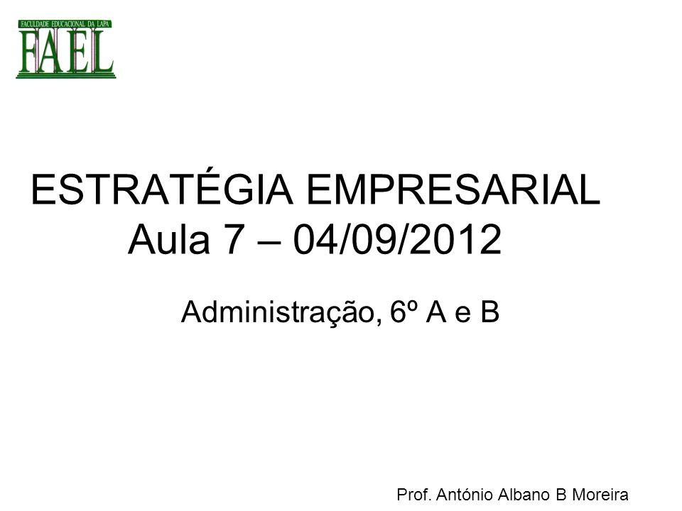 ESTRATÉGIA EMPRESARIAL Aula 7 – 04/09/2012