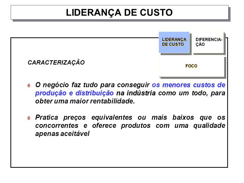 LIDERANÇA DE CUSTO CARACTERIZAÇÃO.