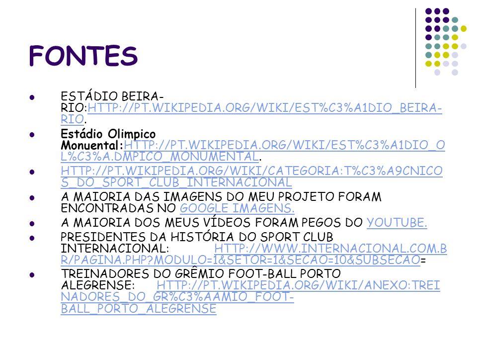 FONTES ESTÁDIO BEIRA-RIO:HTTP://PT.WIKIPEDIA.ORG/WIKI/EST%C3%A1DIO_BEIRA-RIO.