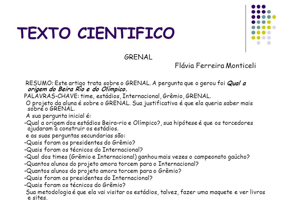 TEXTO CIENTIFICO GRENAL Flávia Ferreira Monticeli