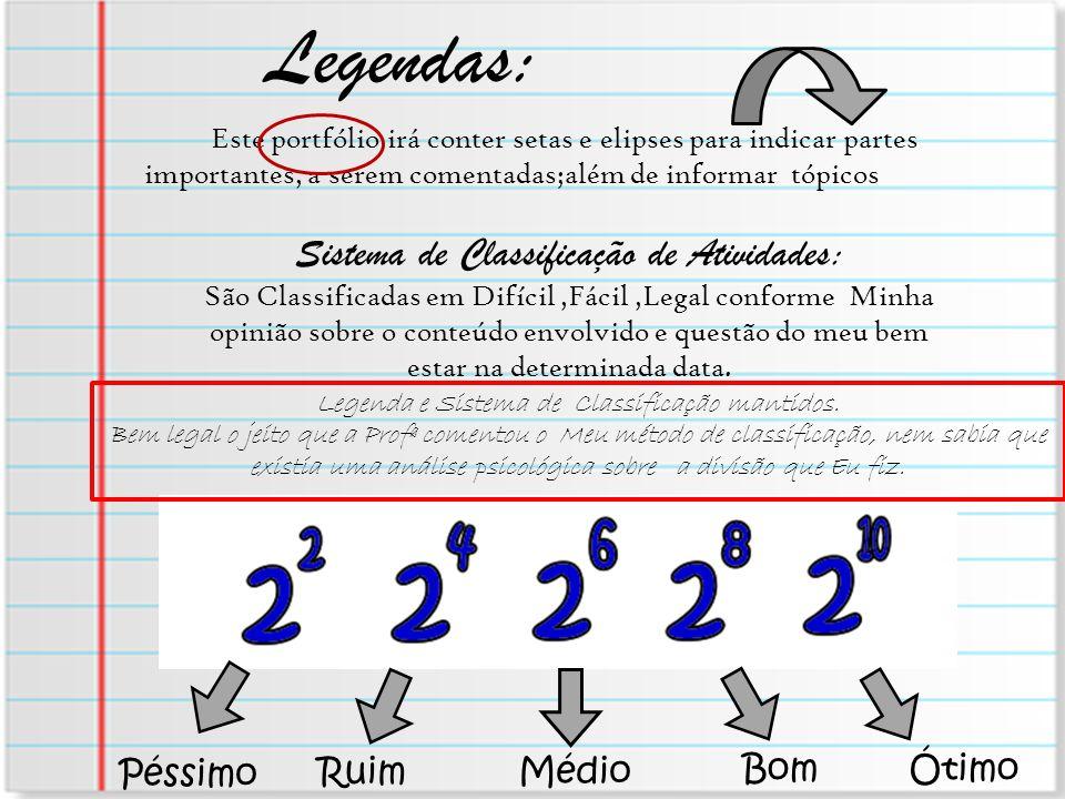 Legendas: Sistema de Classificação de Atividades: Péssimo Ruim Médio