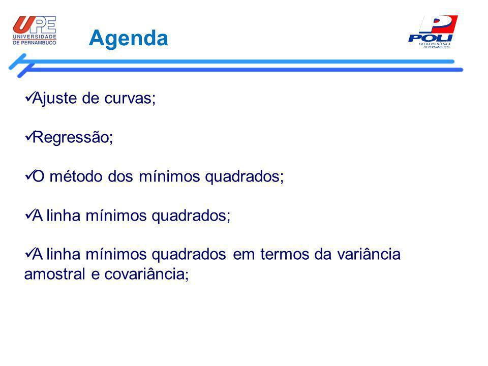 Agenda Ajuste de curvas; Regressão; O método dos mínimos quadrados;