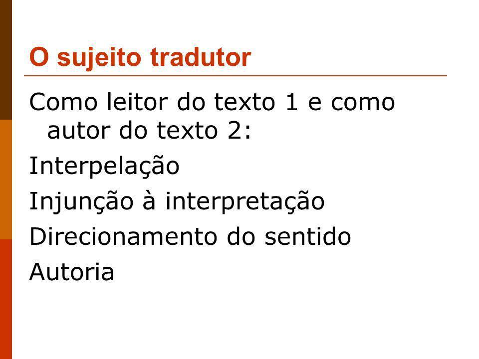 O sujeito tradutor Como leitor do texto 1 e como autor do texto 2: