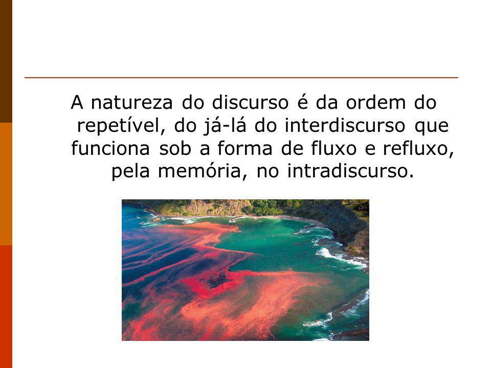 A natureza do discurso é da ordem do repetível, do já-lá do interdiscurso que funciona sob a forma de fluxo e refluxo, pela memória, no intradiscurso.
