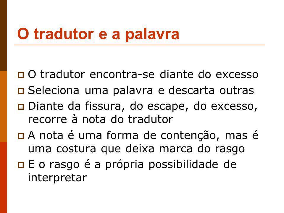 O tradutor e a palavra O tradutor encontra-se diante do excesso