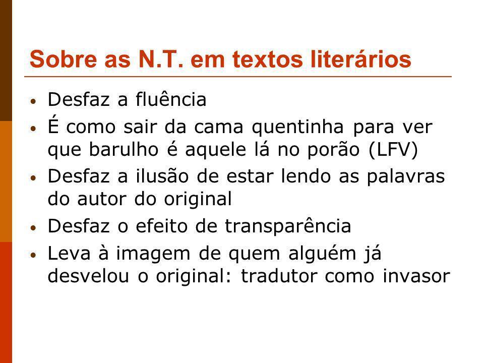 Sobre as N.T. em textos literários