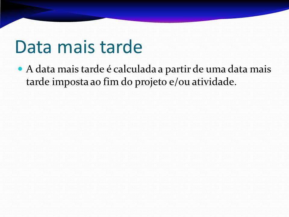 Data mais tarde A data mais tarde é calculada a partir de uma data mais tarde imposta ao fim do projeto e/ou atividade.