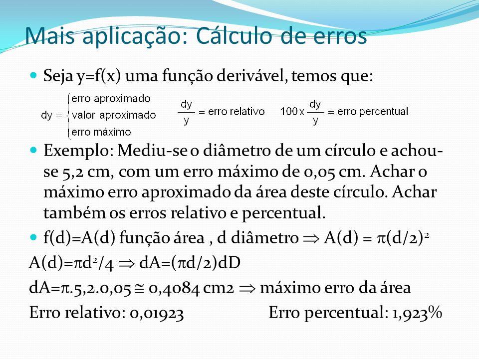 Mais aplicação: Cálculo de erros