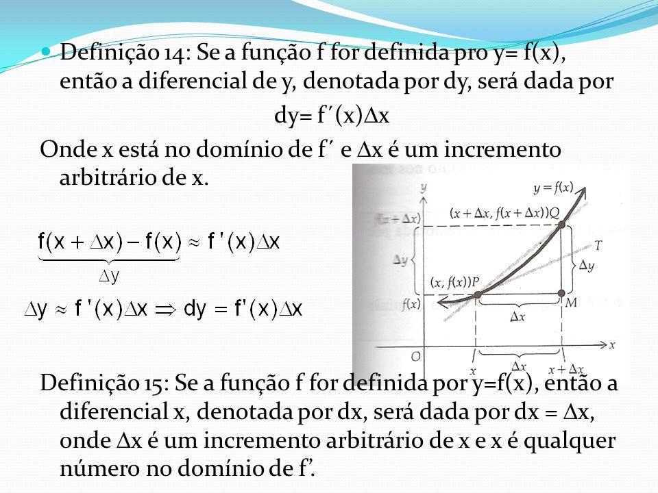 Definição 14: Se a função f for definida pro y= f(x), então a diferencial de y, denotada por dy, será dada por