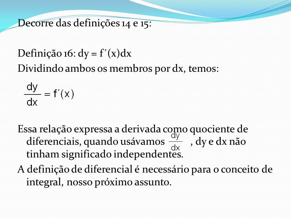 Decorre das definições 14 e 15: Definição 16: dy = f´(x)dx Dividindo ambos os membros por dx, temos: Essa relação expressa a derivada como quociente de diferenciais, quando usávamos , dy e dx não tinham significado independentes.