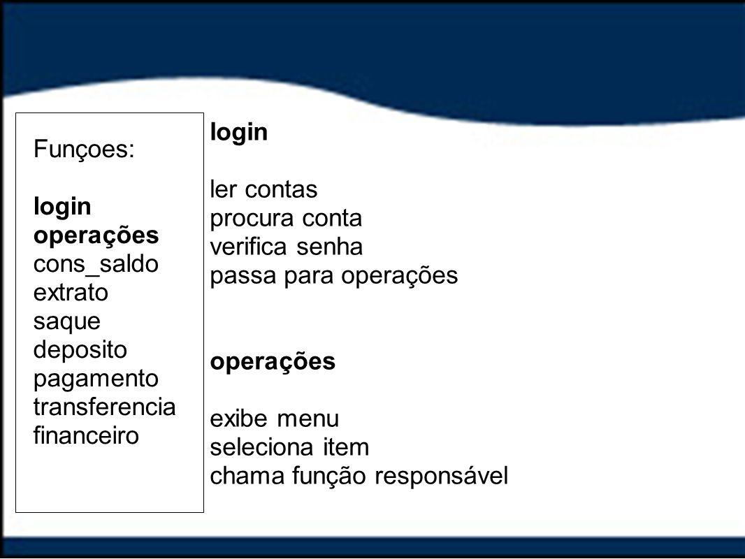 login ler contas. procura conta. verifica senha. passa para operações. operações. exibe menu. seleciona item.