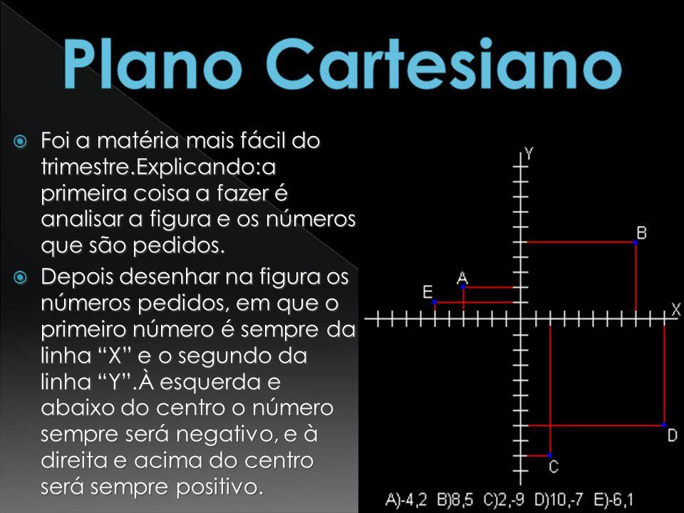 Plano Cartesiano Foi a matéria mais fácil do trimestre.Explicando:a primeira coisa a fazer é analisar a figura e os números que são pedidos.