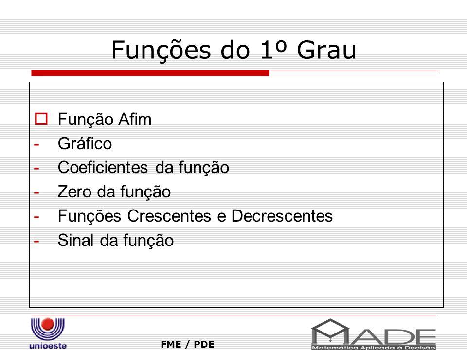 Funções do 1º Grau Função Afim Gráfico Coeficientes da função
