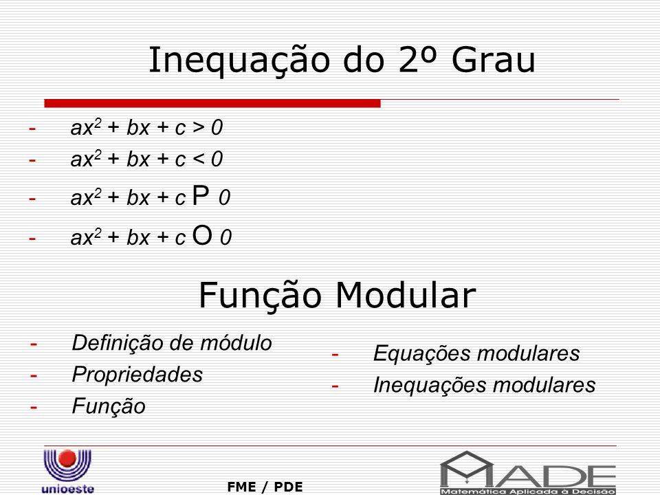 Inequação do 2º Grau Função Modular ax2 + bx + c > 0