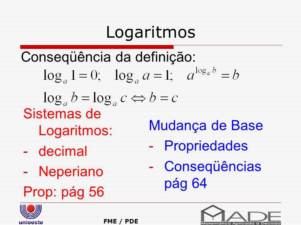 Logaritmos Conseqüência da definição: Sistemas de Logaritmos: