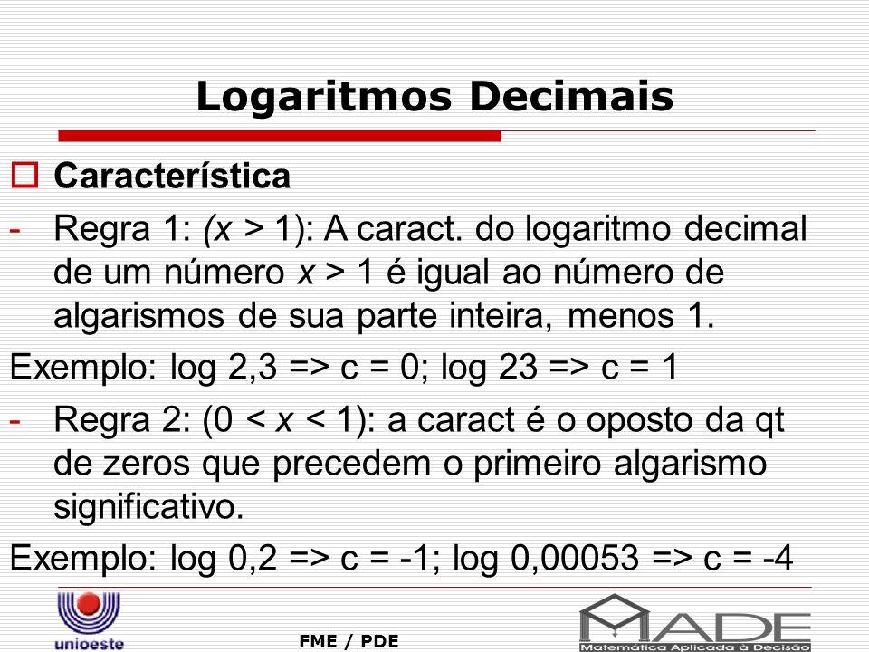 Logaritmos Decimais Característica