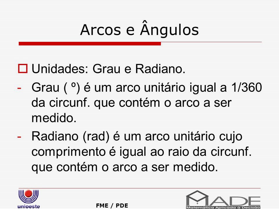 Arcos e Ângulos Unidades: Grau e Radiano.