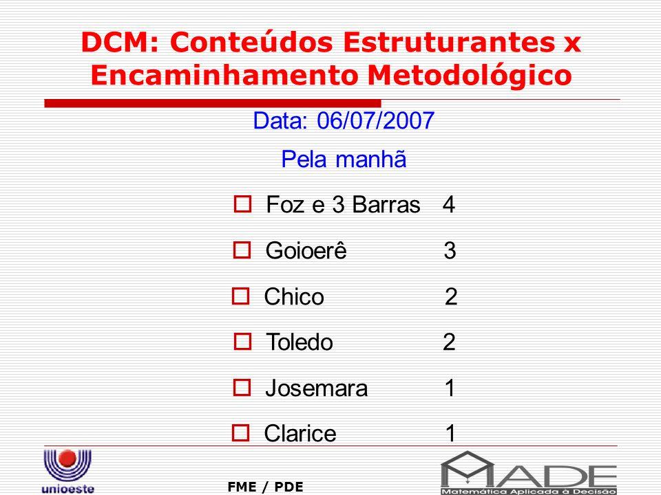 DCM: Conteúdos Estruturantes x Encaminhamento Metodológico