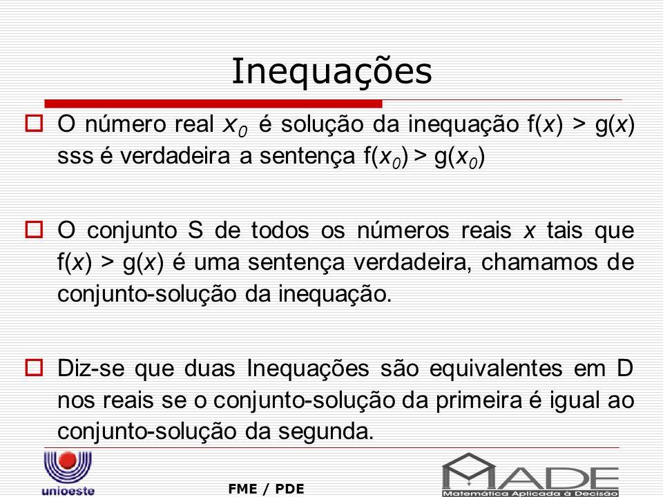 Inequações O número real x0 é solução da inequação f(x) > g(x) sss é verdadeira a sentença f(x0) > g(x0)