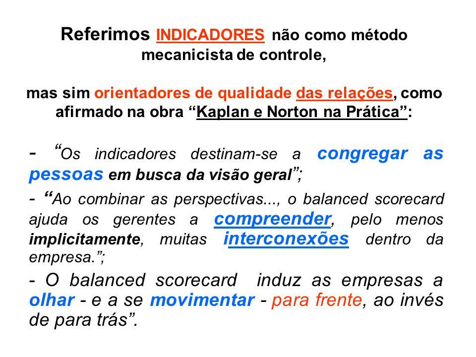 Referimos INDICADORES não como método mecanicista de controle, mas sim orientadores de qualidade das relações, como afirmado na obra Kaplan e Norton na Prática :