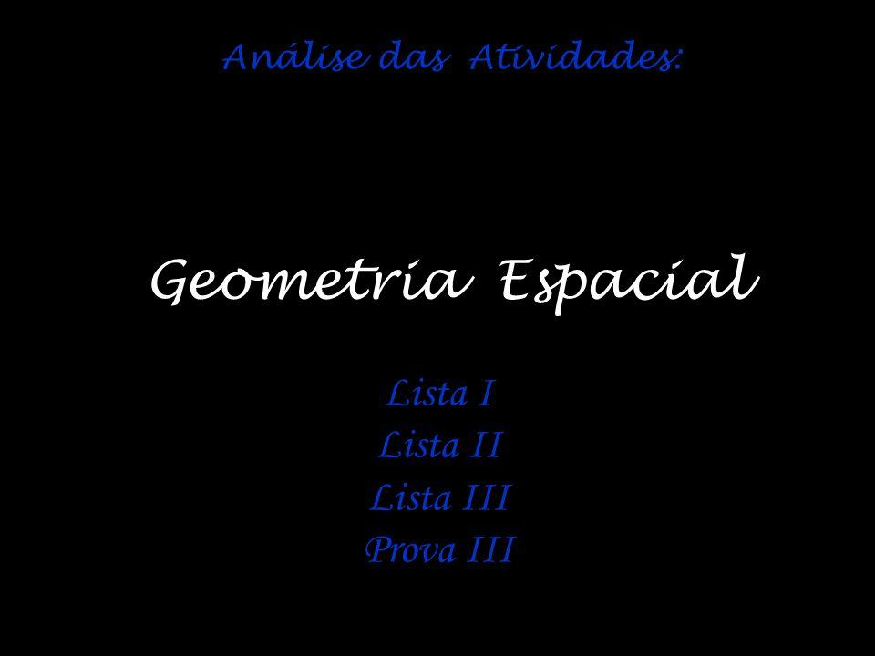 Geometria Espacial Lista I Lista II Lista III Prova III