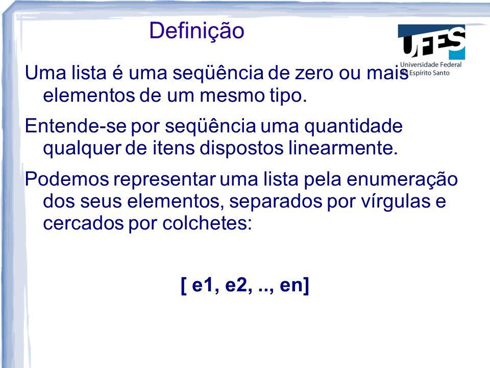 Definição Uma lista é uma seqüência de zero ou mais elementos de um mesmo tipo.