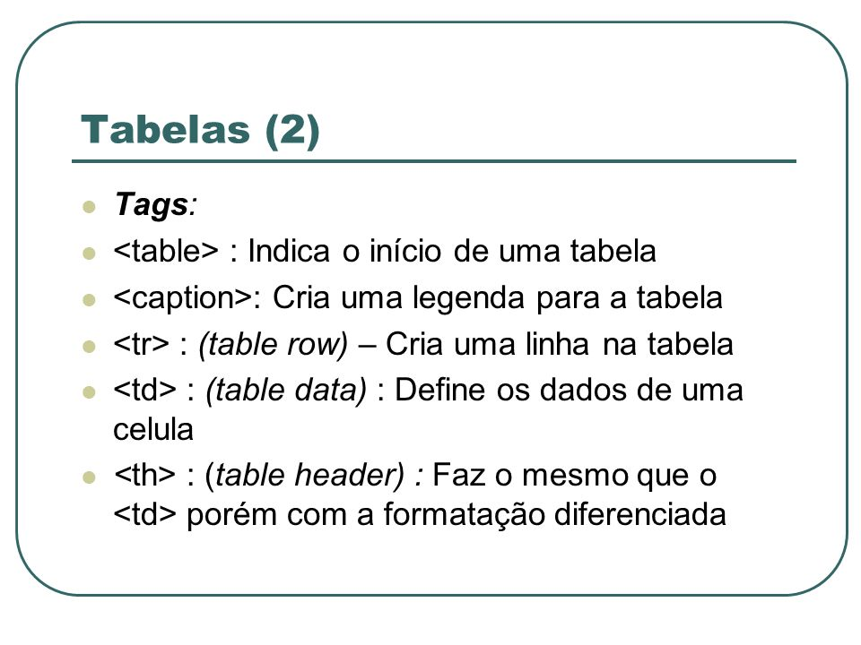 Tabelas (2) Tags: <table> : Indica o início de uma tabela