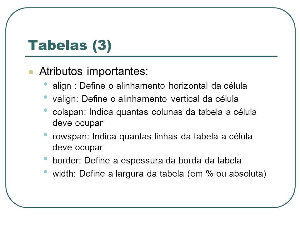 Tabelas (3) Atributos importantes:
