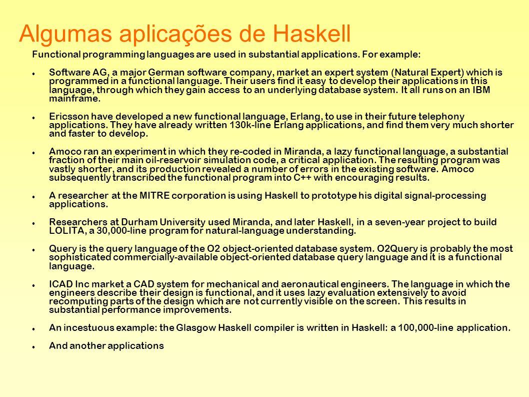 Algumas aplicações de Haskell