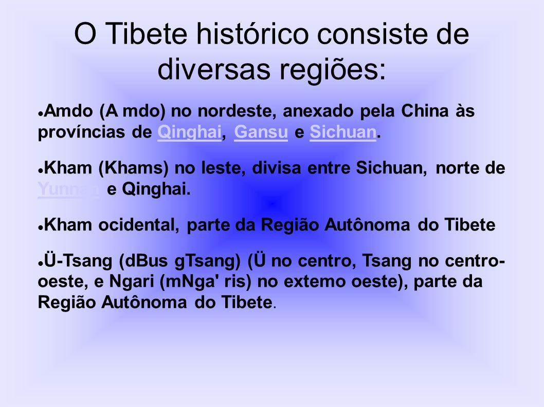 O Tibete histórico consiste de diversas regiões: