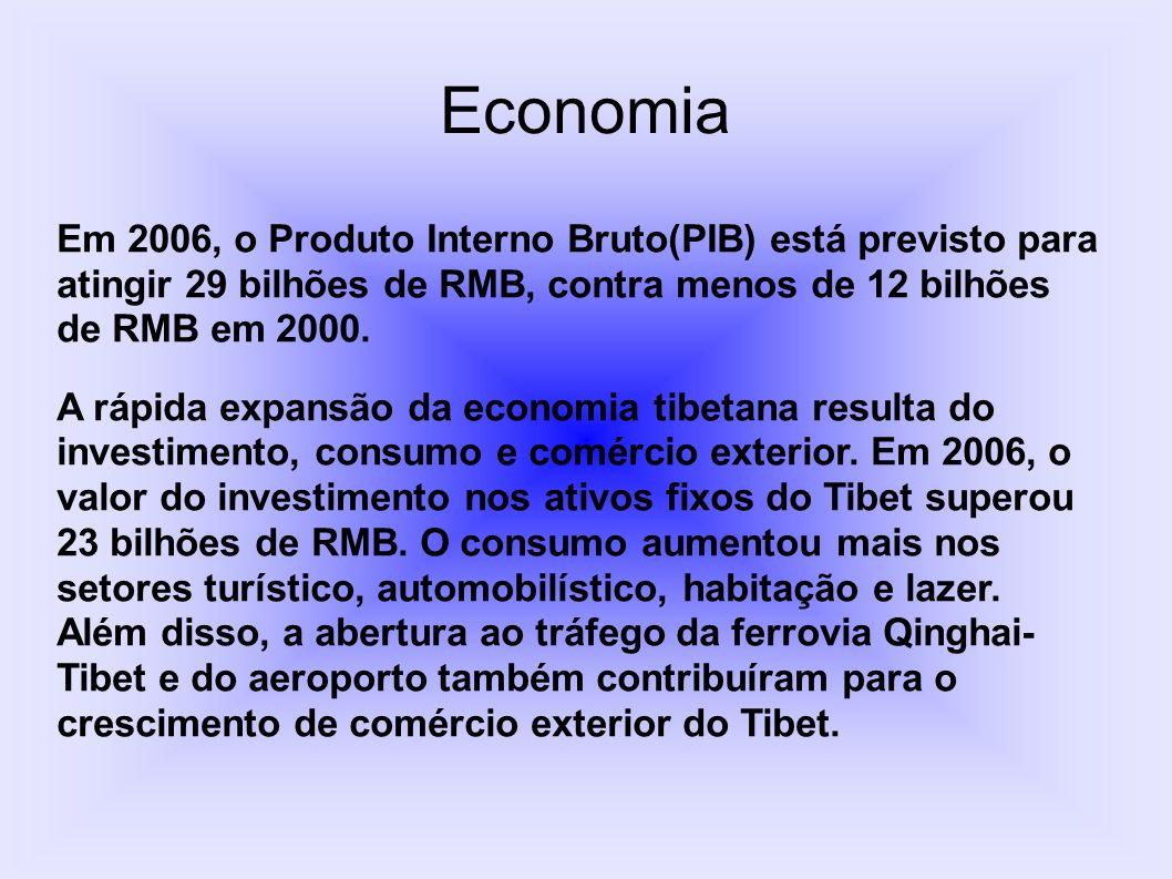 Economia Em 2006, o Produto Interno Bruto(PIB) está previsto para atingir 29 bilhões de RMB, contra menos de 12 bilhões de RMB em 2000.