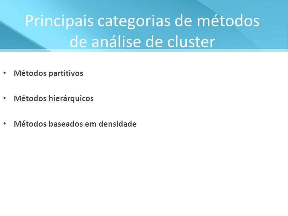 Principais categorias de métodos de análise de cluster