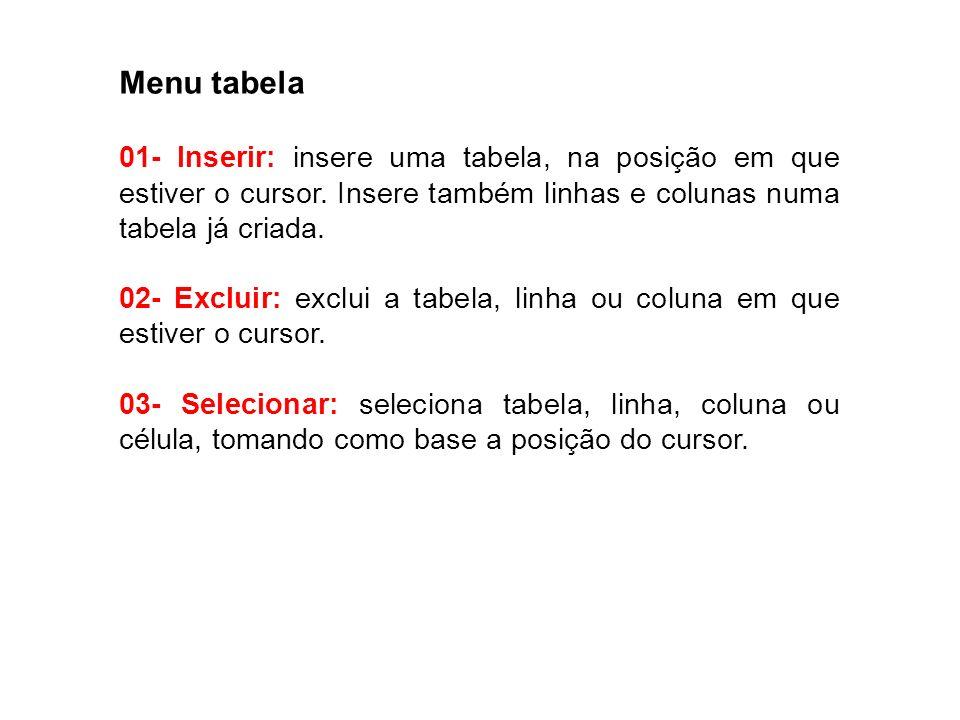 Menu tabela01- Inserir: insere uma tabela, na posição em que estiver o cursor. Insere também linhas e colunas numa tabela já criada.