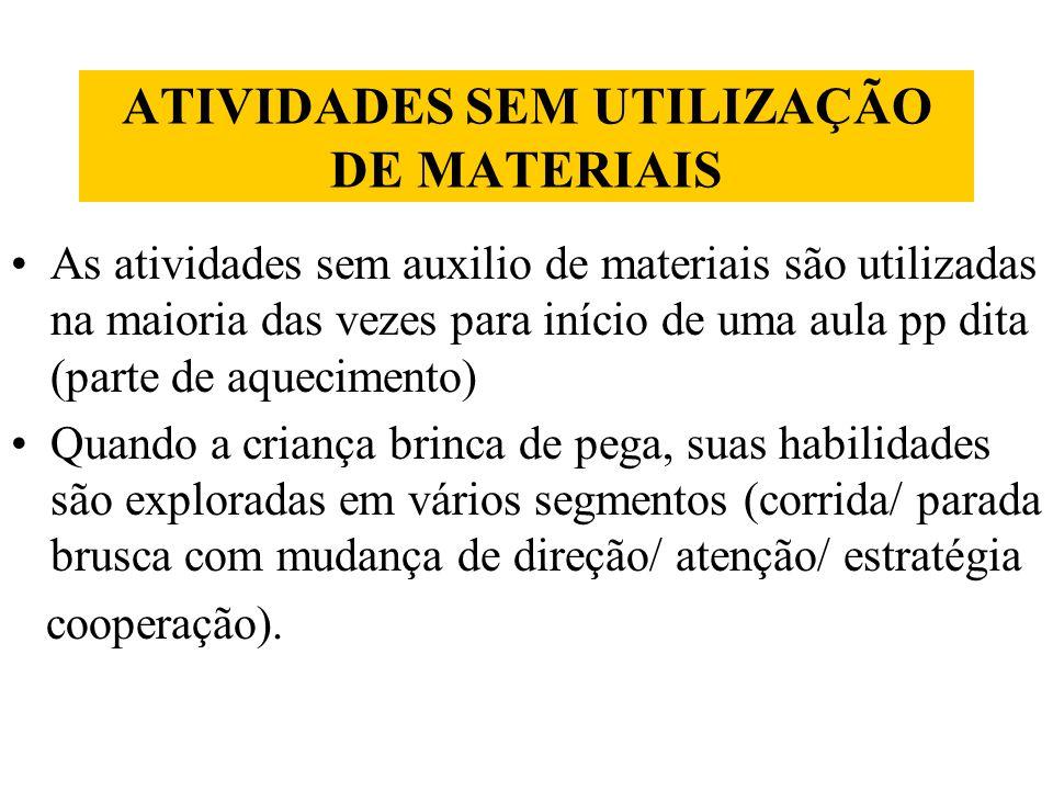 ATIVIDADES SEM UTILIZAÇÃO DE MATERIAIS