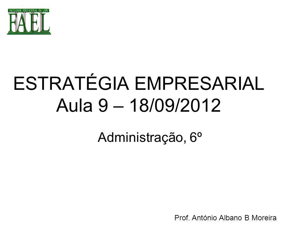 ESTRATÉGIA EMPRESARIAL Aula 9 – 18/09/2012