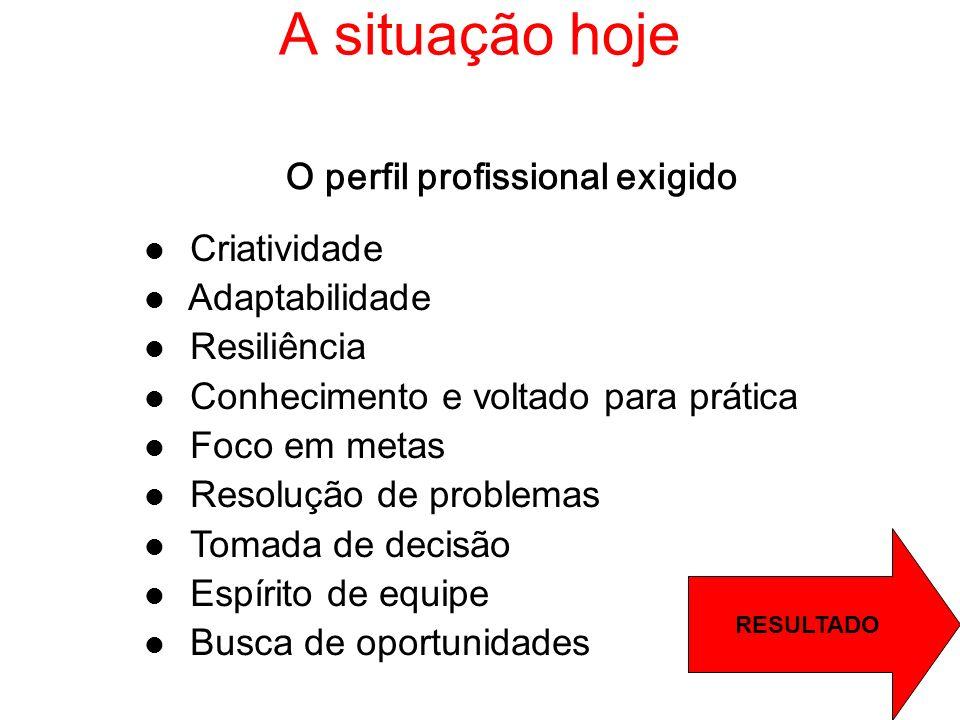 A situação hoje O perfil profissional exigido Criatividade