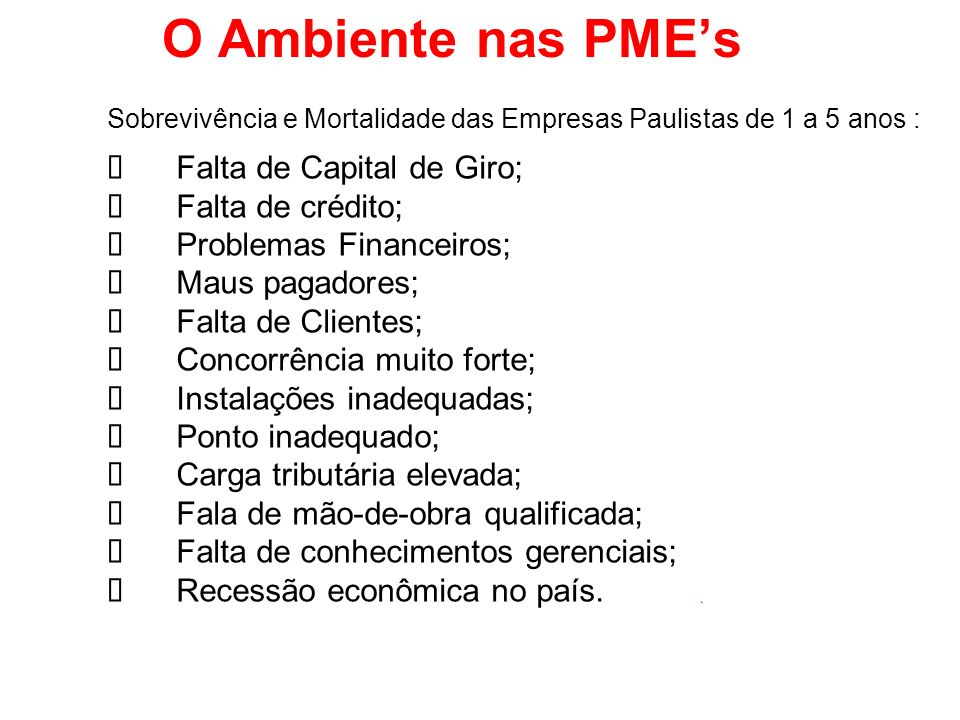 O Ambiente nas PME's ü Falta de Capital de Giro; ü Falta de crédito;