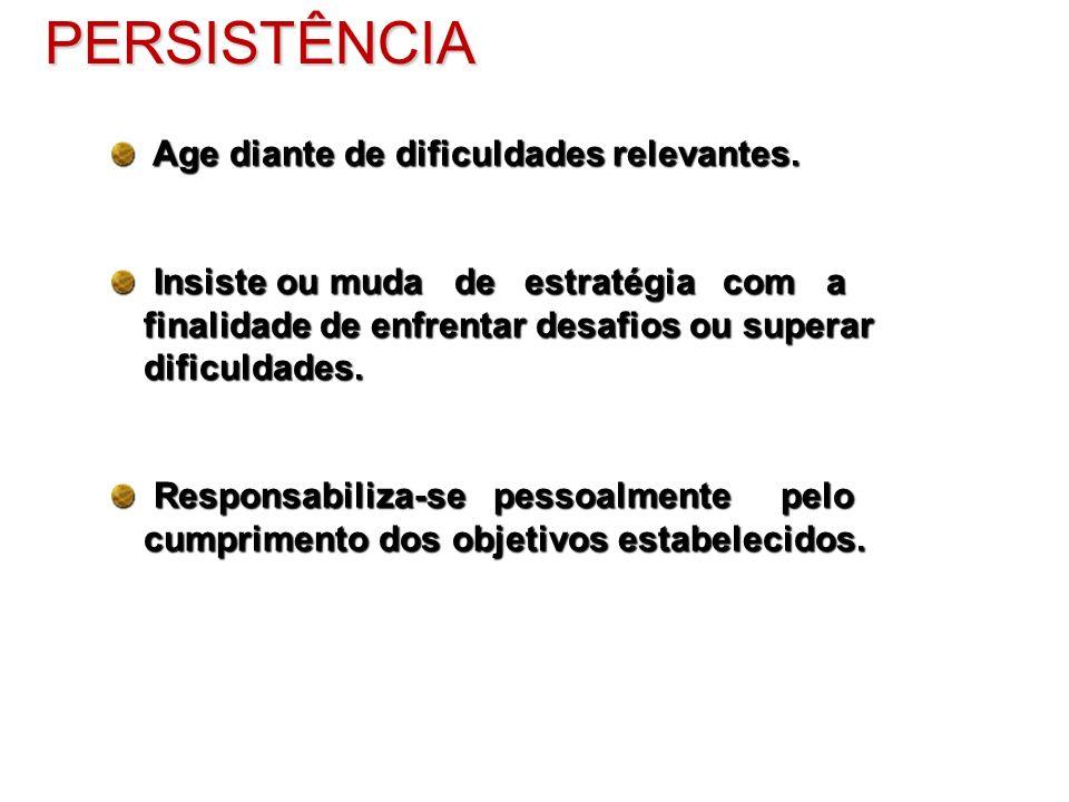 PERSISTÊNCIA Age diante de dificuldades relevantes.