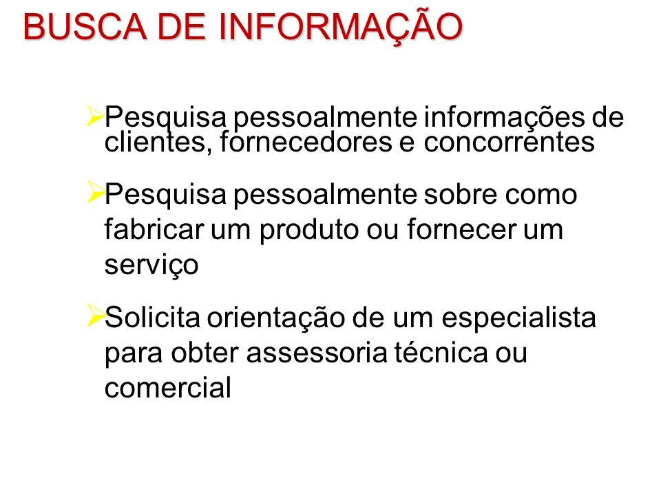 BUSCA DE INFORMAÇÃOPesquisa pessoalmente informações de clientes, fornecedores e concorrentes.