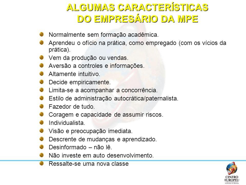 ALGUMAS CARACTERÍSTICAS DO EMPRESÁRIO DA MPE