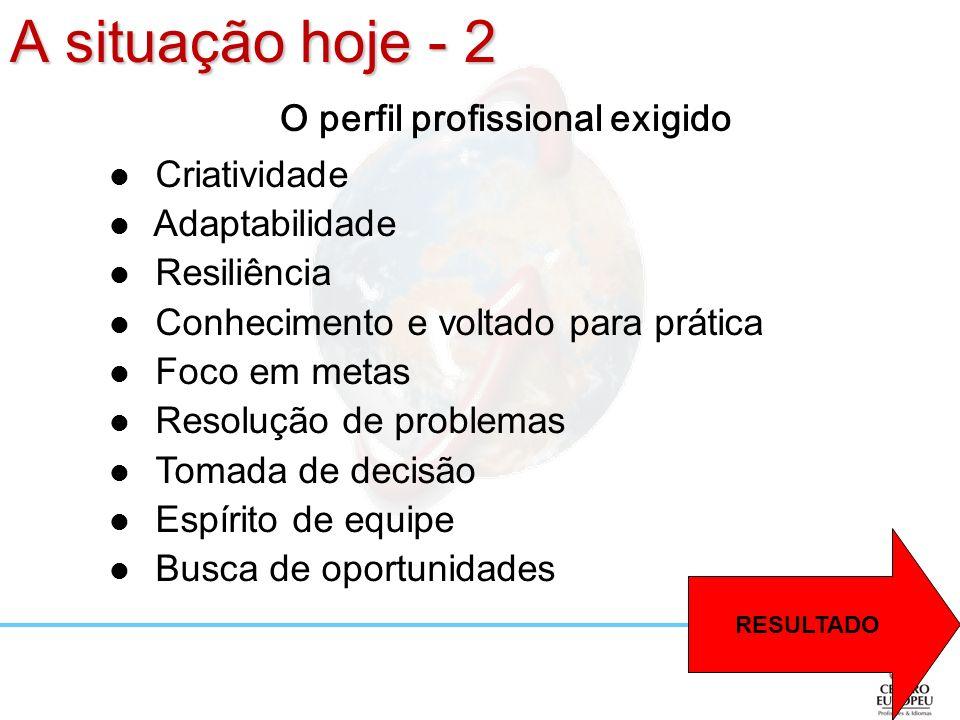 A situação hoje - 2 O perfil profissional exigido Criatividade