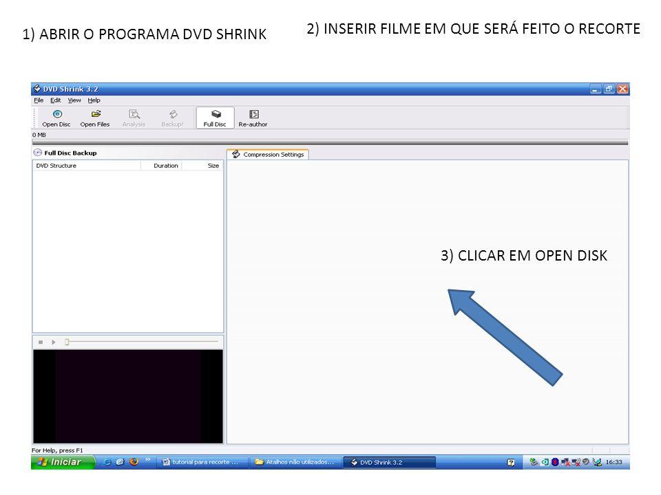 2) INSERIR FILME EM QUE SERÁ FEITO O RECORTE